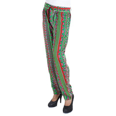 eSTYLe Colour Cubes Printed Rayon Parallel Pants With Stylish Belt