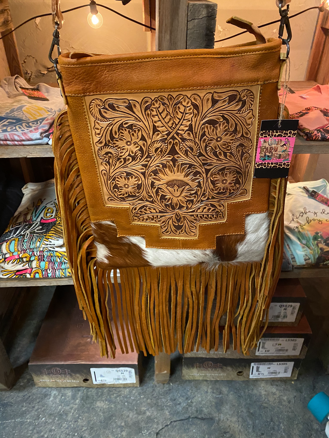 Conceal and Carry Brown and White Hair on Hide Tooled Crossbody
