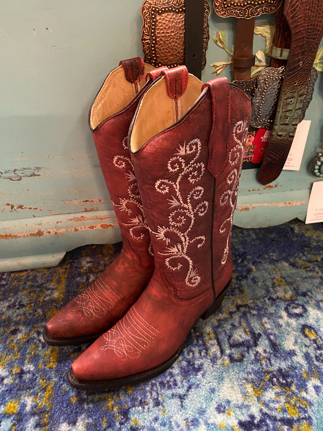 Dark Red Circle G Boot with White Embroider