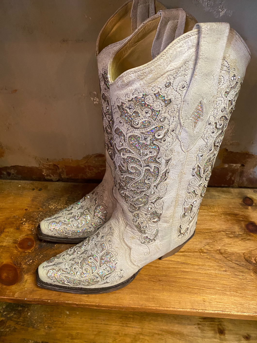 White Corral Boot with Glitter Inlay