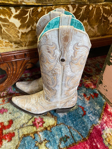 Creme Corral Boots with Stitch Inlay