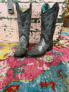 Black Overlay Corral Boot