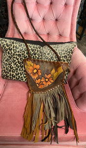 Floral Leather Fringed Purse