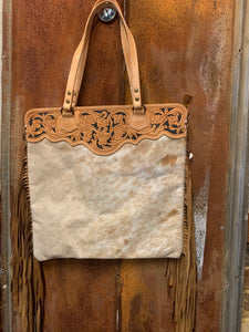 Lg. Tan/White Hair on Hide Tote