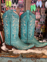 Load image into Gallery viewer, Turquoise Circle G Boot with Beige Embroidery