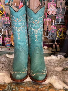 Turquoise Circle G Boot with Beige Embroidery