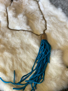 Long Leather Tassel Necklace (Multiple Colors)