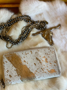 Gold Desire Leather and Hair on Hide Wallet