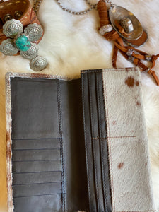 Cat Fight Leather and Hair on Hide Wallet