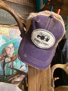 Happy Camper Purple Distressed Cap