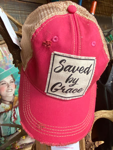 Saved By Grace Pink Distressed Cap