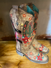 Load image into Gallery viewer, Brown Corral Boot with Cactus and Flower Design