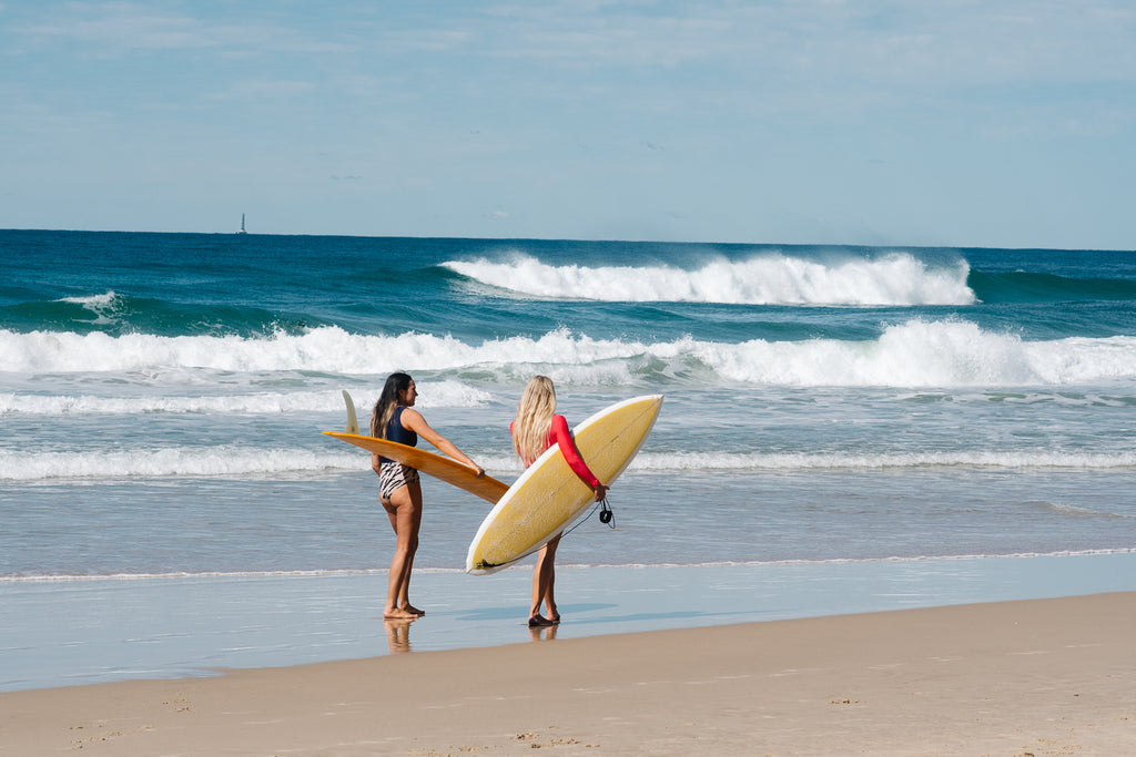 Sierra Lerback and Jo Brebner roadtest Salt Gypsy sustainable swimwear in Noosa. Shot by Shannon Cavarocchi #saltgypsy #sustainableswimwear #surffashion