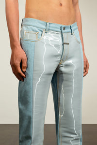 Water Denim Trousers with Side Panel