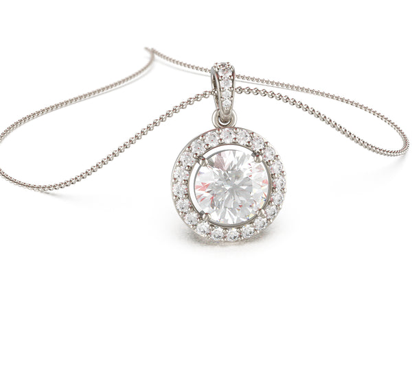 Halo Solitaire Necklace (With Chain)