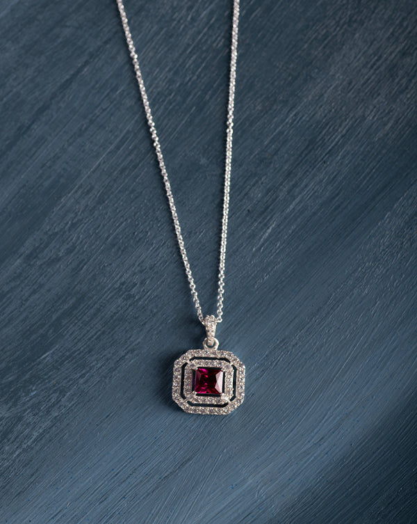 Red Rage Double Halo Pendant (With Chain)
