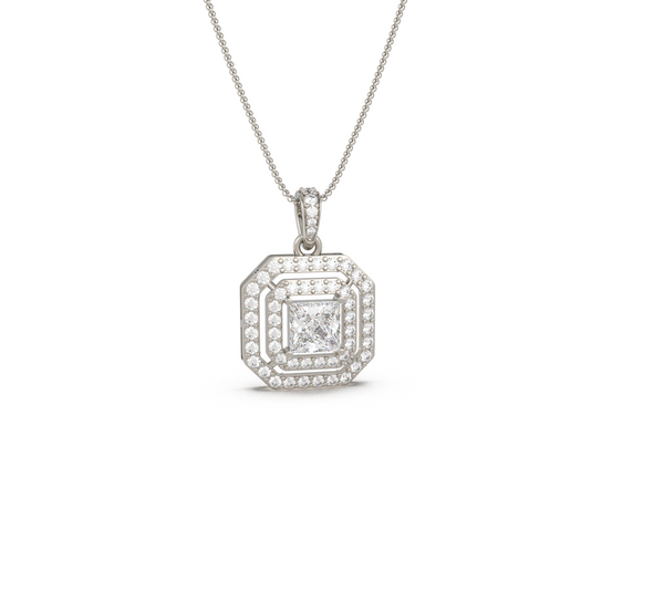 Double Halo Solitaire Pendant (With Chain)
