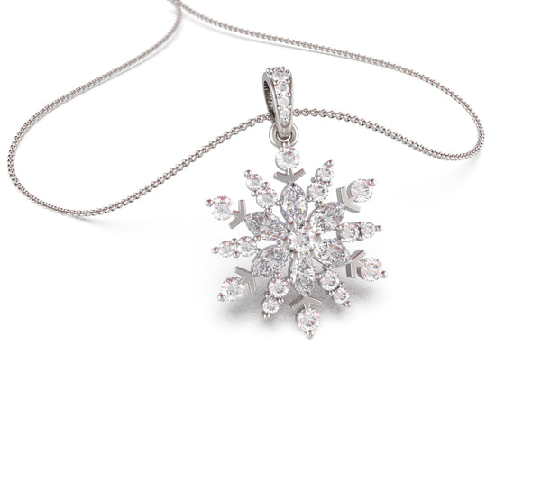 Snowflake Crystal Pendant (With Chain)