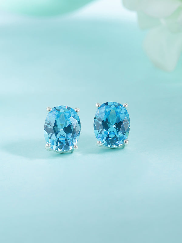 Oval Gemstone Stud Earrings