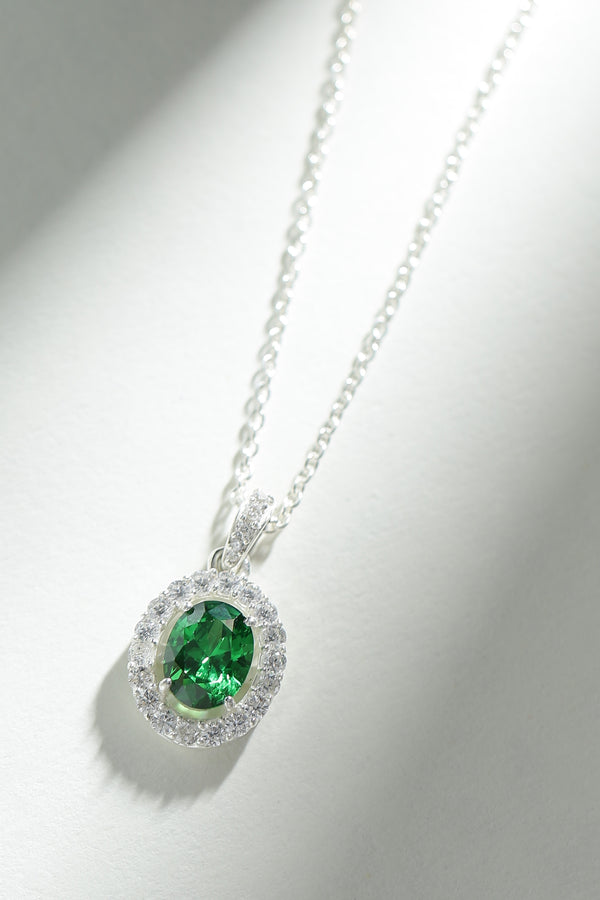 Emerald Stone Necklace (With chain)