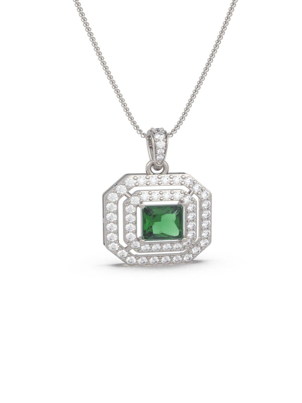 Emerald Isle Double Halo Pendant (With Chain)
