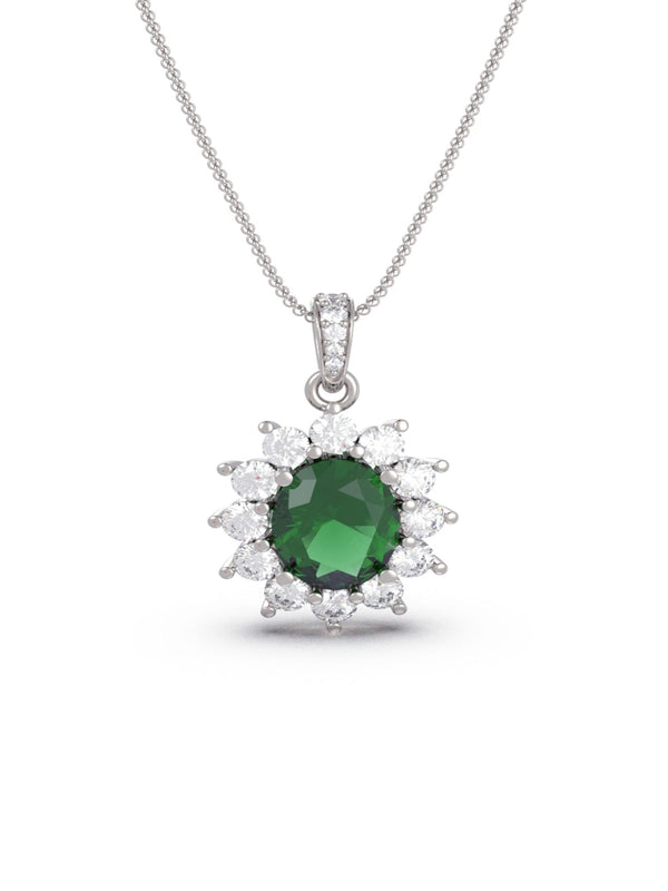 Ambrosia Emerald Oval Pendant (With Chain)