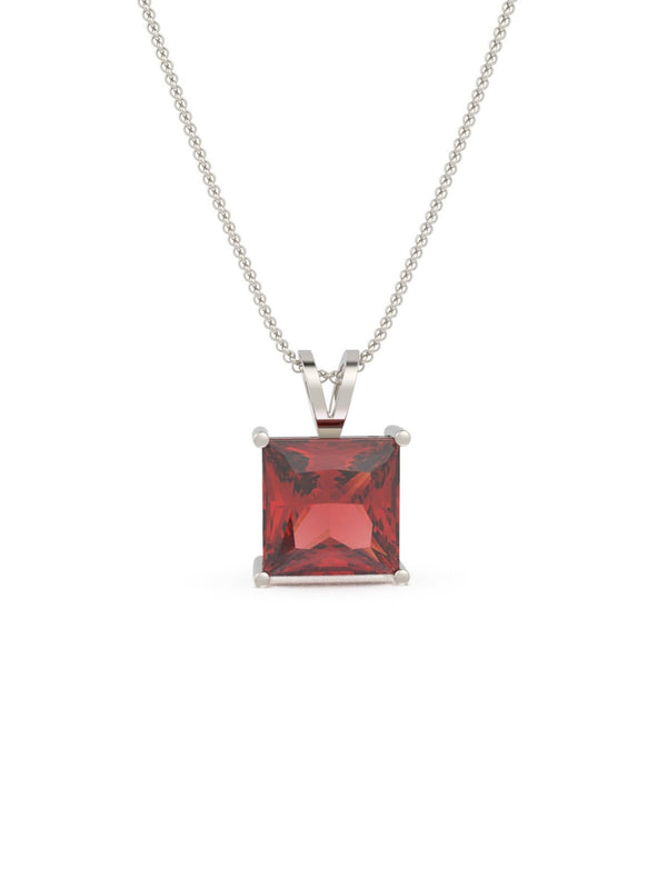Grace Ruby Square Pendant (With Chain)