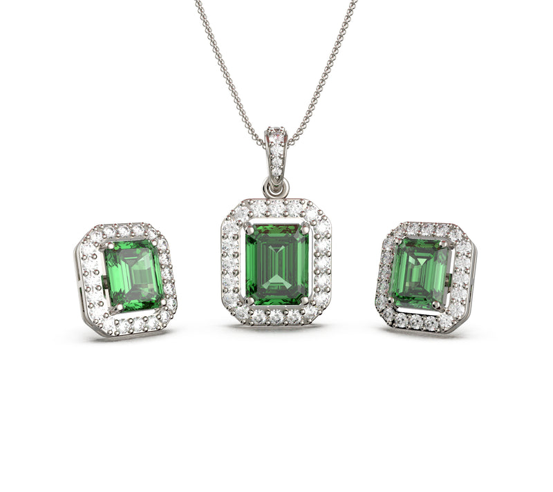 Quad Emerald Green Set (With Chain)