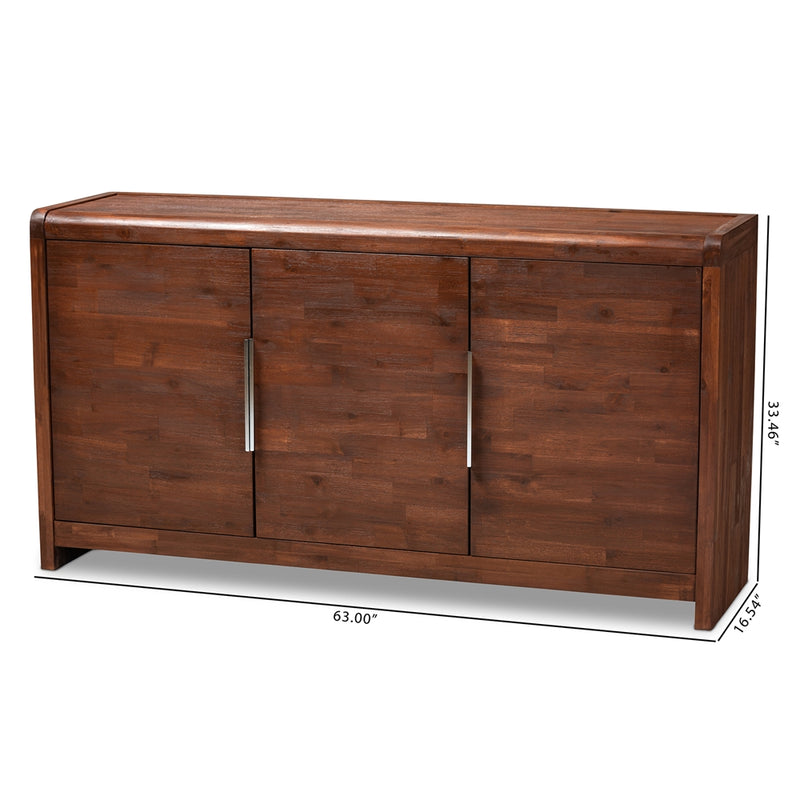 TORRES MODERN AND CONTEMPORARY BROWN OAK FINISHED 3-DOOR WOOD SIDEBOARD BUFFET By Baxton Studio - Ace home goods