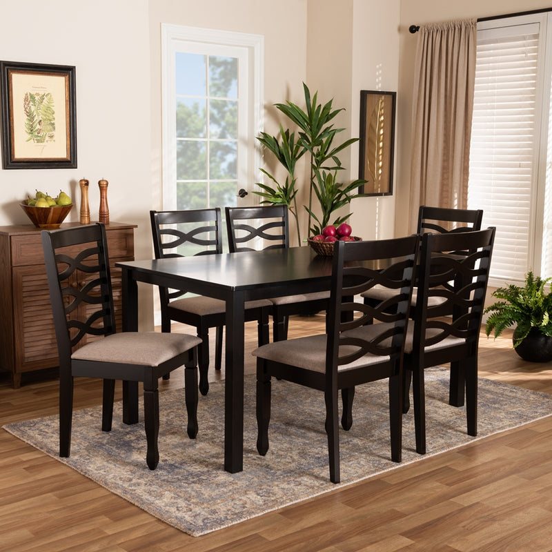 LANIER MODERN AND CONTEMPORARY SAND FABRIC UPHOLSTERED DARK BROWN FINISHED WOOD 7-PIECE DINING SET By Baxton Studio - Ace home goods