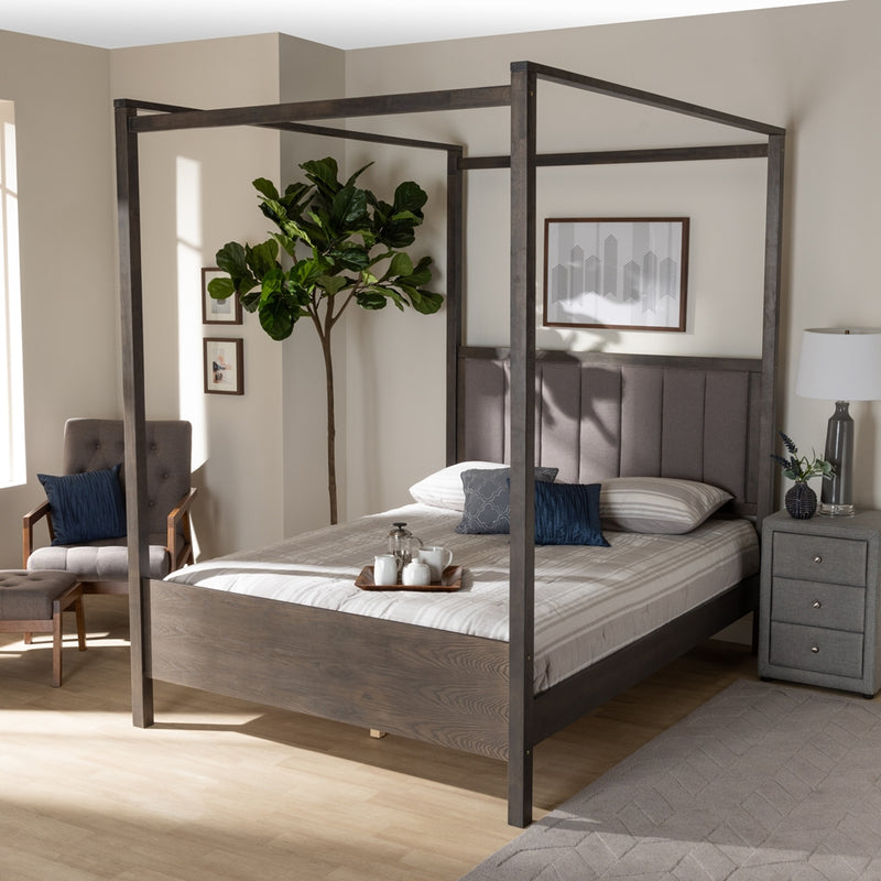 NATASHA MODERN AND CONTEMPORARY GREY FABRIC UPHOLSTERED AND DARK GREY OAK FINISHED WOOD QUEEN SIZE PLATFORM CANOPY BED By Baxton Studio - Ace home goods