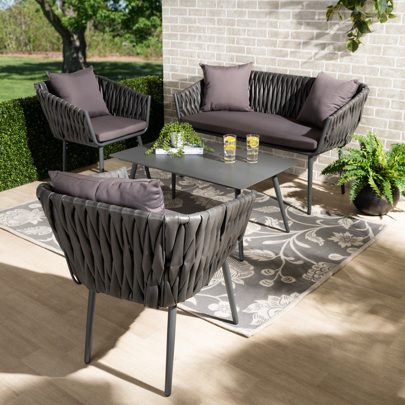 STEWART MODERN AND CONTEMPORARY GREY FABRIC UPHOLSTERED AND GREY FINISHED METAL 4-PIECE OUTDOOR PATIO SET By Baxton Studio - Ace home goods