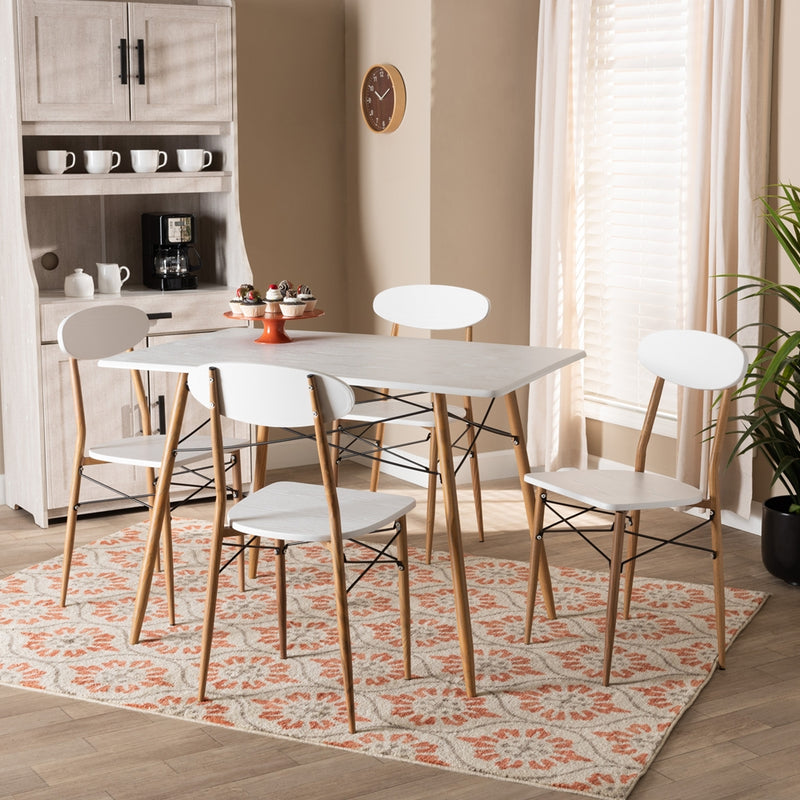 WAYNE MODERN AND CONTEMPORARY WHITE AND WALNUT FINISHED METAL 5-PIECE DINING SET By Baxton Studio - Ace home goods