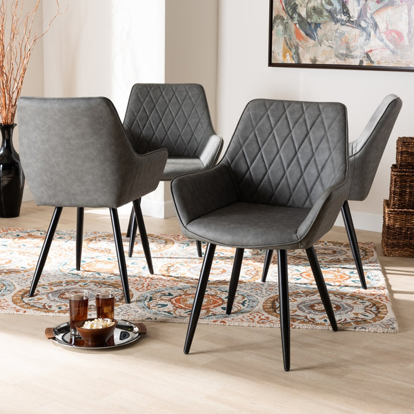 ASTRID MID-CENTURY CONTEMPORARY GREY FAUX LEATHER UPHOLSTERED AND BLACK METAL 4-PIECE DINING CHAIR SET By Baxton Studio - Ace home goods