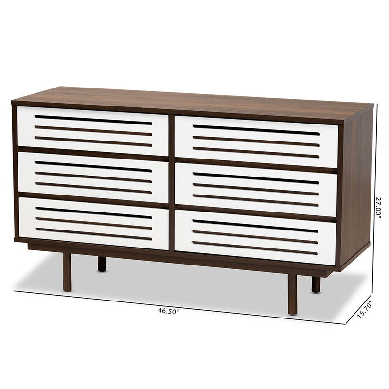 MEIKE MID-CENTURY MODERN TWO-TONE WALNUT BROWN AND WHITE FINISHED WOOD 6-DRAWER DRESSER By Baxton Studio - Ace home goods