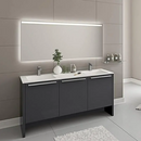 Benna 63″ Glossy Gray Acrylic Bathroom Vanity By Casa Mare - Ace home goods