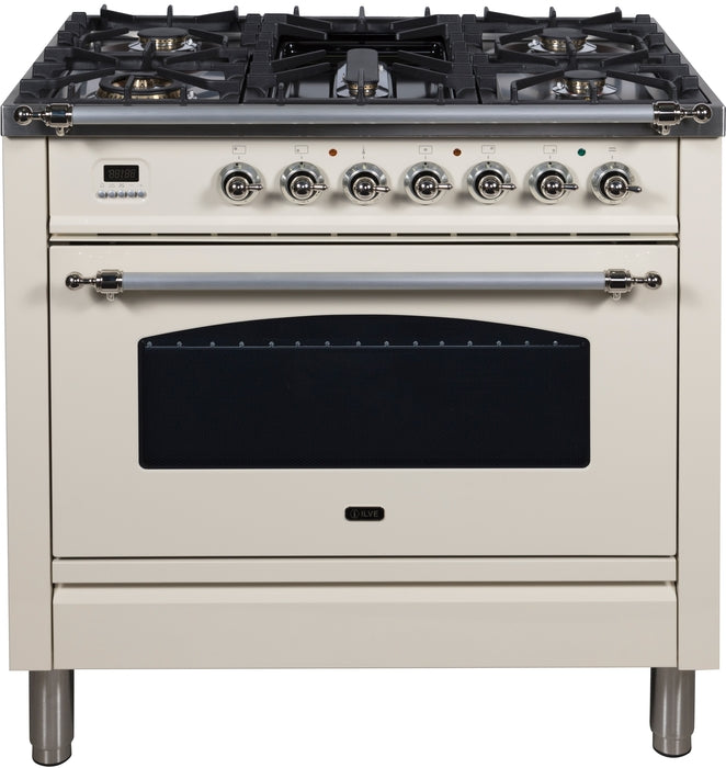 36 Inch Antique White Dual Fuel Natural Gas Freestanding Range Nostalgie Series By ILVE - Ace home goods