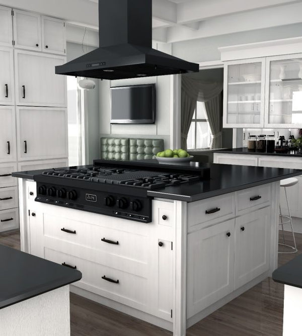 48 IN. PORCELAIN RANGETOP IN BLACK STAINLESS WITH 7 GAS BURNERS By Zline - Ace home goods