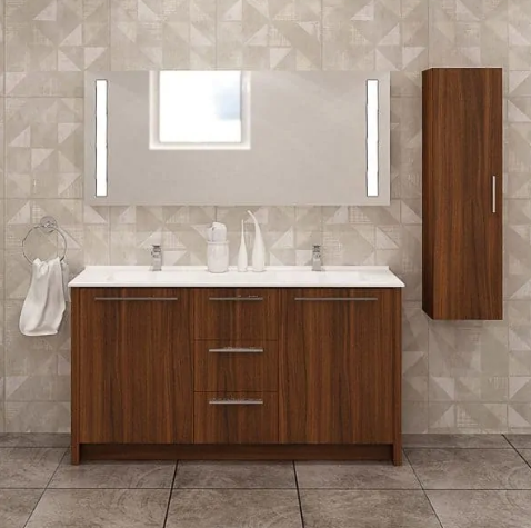 Nona 60″ Matte Walnut Acrylic Bathroom Vanity By Casa Mare - Ace home goods