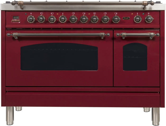 48 Inch Burgundy Dual Fuel Liquid Propane Freestanding Range Nostalgie Series By ILVE - Ace home goods