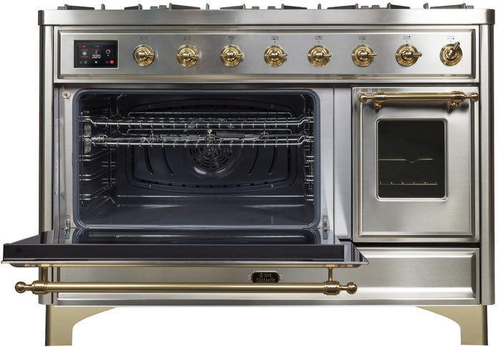 48 Inch Stainless Steel Dual Fuel Natural Gas Freestanding Range Majestic II Series By ILVE - Ace home goods