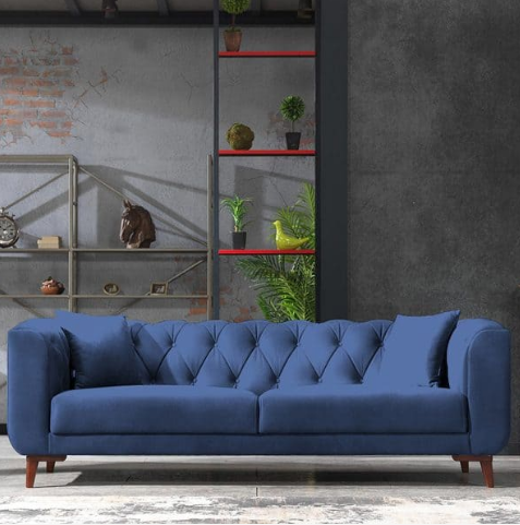 Lyra Mid-Century Tufted Chesterfield 3 Seater Sofa By Casa Mare - Ace home goods