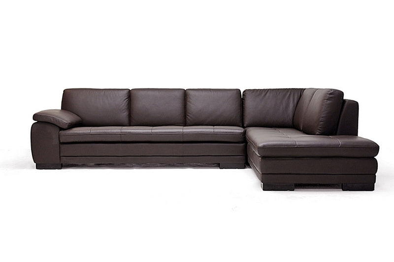 DIANA DARK BROWN SOFA/CHAISE SECTIONAL By Baxton Studio - Ace home goods