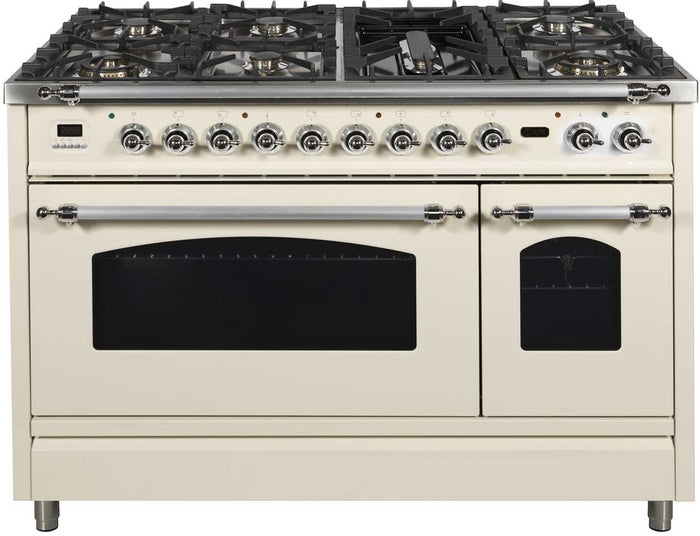 48 Inch Antique White Dual Fuel Natural Gas Freestanding Range Nostalgie Series By ILVE - Ace home goods