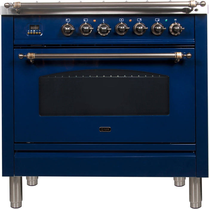 36 Inch Blue Dual Fuel Natural Gas Freestanding Range Nostalgie Series By ILVE - Ace home goods