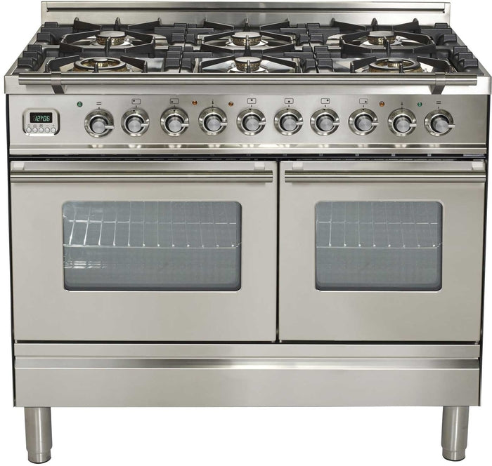 40 Inch Stainless Steel Dual Fuel Liquid Propane Freestanding Range Professional Plus Series By ILVE - Ace home goods
