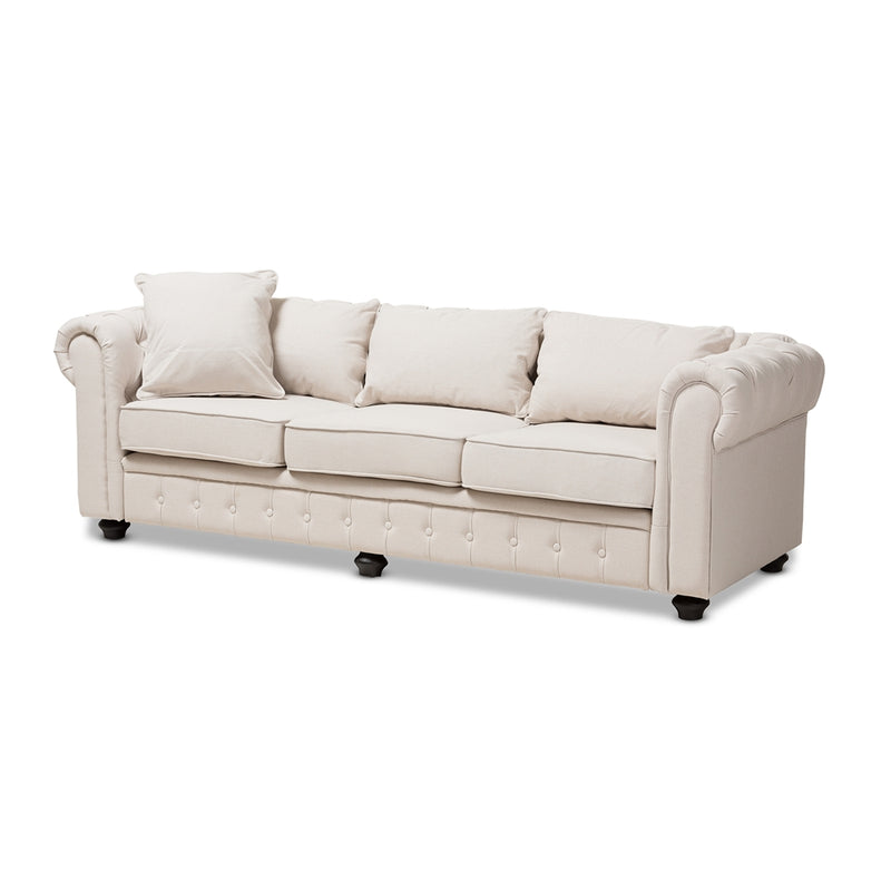 ALAISE MODERN CLASSIC BEIGE LINEN TUFTED SCROLL ARM CHESTERFIELD SOFA By Baxton Studio - Ace home goods