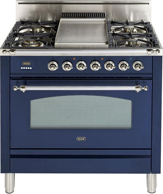 36 Inch Blue Natural Gas Freestanding Range Nostalgie Series By ILVE - Ace home goods