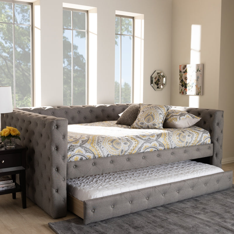 ANABELLA MODERN AND CONTEMPORARY GREY FABRIC UPHOLSTERED FULL SIZE DAYBED WITH TRUNDLE By Baxton Studio - Ace home goods