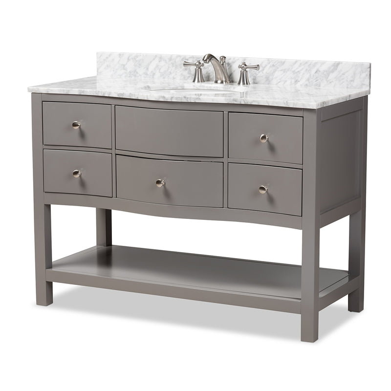 CASTIE 48-INCH MODERN AND CONTEMPORARY GREY FINISHED WOOD AND MARBLE SINGLE SINK BATHROOM VANITY By Baxton Studio - Ace home goods